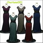 Cherlone Black Lace Long Ballgown Wedding Evening Bridesmaid Formal Dress UK 16