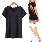 Fashion Womens Backless Hollow Angel Wings Cut Out Cotton Blouse Tops T-shirt