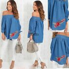 New Fashion Women Casual Slash Neck Off the Shoulder Floral Appliques TXCL01