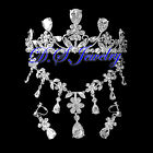 CZ & Crystal Rhinestones Carved Flower Neklace & Earring Clip On & Crown / Tiara