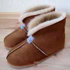 Mens REAL SHEEPSKIN Slipper Boot Roll up / Down Cuff Chestnut -UK 11 12