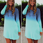 US Casual Women's Lady Blue Gradient Color Loose Party Evening Long Sleeve Dress