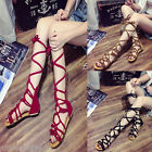 US NEW FASHION WOMENS SUMMER GLADIATOR ROMAN FLAT THONG FLIP FLOPS SANDALS SHOES