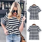 New Fashion Women Casual O-Neck Flare Short Sleeve Striped T-shirt Blouse DZ8801