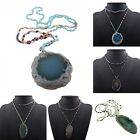 Vintage Women Natural Stone Pendant  Charm Bib Statement Long Necklace Jewelry