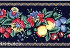Navy Blue Kitchen Retro Fruit Fabric Backed Vintage Flower Wall Wallpaper Border