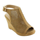 TOP MODA EH73 Women's Perforated Ankle Strap Wedge Sandals