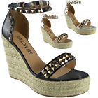 Womens Ladies Ankle Strap Studded Espadrilles Platform Shoes Wedge Sandals Size