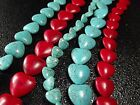 """18mm 20mm Blue / Red Turquoise Gemstone Heart Spacer beads Jewelry 16"""""""