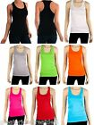 Women's Racerback Tank Top 100% Cotton Basic Solid Hot Tee Cami NEW TT402