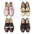 Womens Retro Slip On Brogue Flat Oxfords Wing Tip Leather SHoes Tassel Pump Hot
