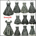 dress190 Grau 50er Jahre Rockabilly Party Cocktail Abschlussball Brautjun Kleid