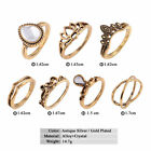 7Pcs Bohemian Carved Gemstone Knuckle Ring Women Lady Vintage Mid Ring Jewelry