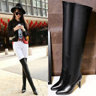 Vogue Sexy Lady Pointed Toe High Heels Side Zip Over the Knee High Boot Stiletto