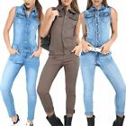 Womens Ladies Button Denim Dungaree Jean Sleeveless All In One Playsuit Jumpsuit