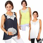 Women Ladies Layered Chiffon Flared Loose A Line Tank Cami Vest Top Blouse Shirt