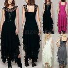 UK 8-18 Womens Mesh Hippie Embroidery Sheer Lace Ruffled V-back Irregular Dress