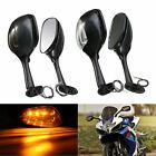 Carbon Motorcycle Rear View Mirrors w/ LED Turn Signal For Suzuki GSX-R 600 750