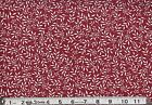 White leaves on burgundy   : 100% NOVELTY cotton fabric by the 1/2 metre