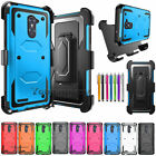 For ZTE Zmax Pro Z981 Hybrid Hard Case Armor Protective Cover+ 2Tempered Glass