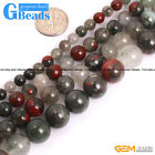 "Natural Africa Bloodstone Round Beads For Jewelry Making Free Shipping 15""Strand"