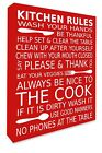 Kitchen Wall Hanging Picture Kitchen Rules Wall Art RED Canvas Print A3/A4