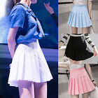 Women Ladies Cute Thin High Waist Plain Skater Flared Pleated Short Mini Skirts