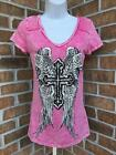 New Vocal Pink Mineral Wash Rhinestone Bling T-shirt Top Cross Roses Sexy