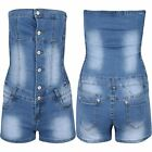 Womens Ladies Side Ruched Denim Faded Dungaree Boobtube Romper Jumpsuit Playsuit