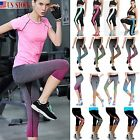 Women Sports Yoga GYM Running Capri 3 4 Pants Fitness Cropped Leggings Trousers