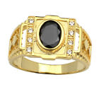 Gold Color Solid Sterling Silver Ring Size 8 to 13 with 7x9mm CZ Special Design