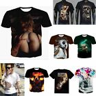 Hot Mens 3d print Summer Short Sleeve Casual Slim Fit T-Shirts Graphic Tee Shirt image