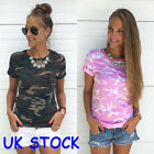 UK Seller Womens Casual Camouflage Sleeve Tops Shirt Ladies Loose T-shirt Blouse