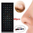 Stainless Steel 60x Crystal Rhinestone Nose Ring Bone Body Piercing Stud Jewelry image