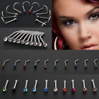 10Pcs Surgical Steel Small Thin Gem Crystal Screw Nose Stud Ring Body Piercing