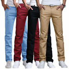 Men's Long Wrinkle Straight Leg Slim Fit Casual Solid Color Long Pants Trousers