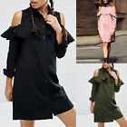 Women's Lady Summer Boho Cold Shoulder Ruffle Casual Party Club Shirt Mini Dress