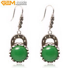 Womens Girls 16mm Coin Stone Rivet Beads Silver Plated Dangle Earrings Jewelry