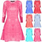 Women Ladies Tie Dye Long Sleeve Round Neck Flared Ladies Mini Smock Swing Dress