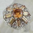 Size 5 6 7 Super Gorgeous Citrine Orange Flower Jewelry Gold Filled Ring K916