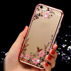 Clear Floral Print Soft Rubber TPU Back Phone Case Cover for Apple iPhone 7/Plus
