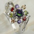 Size 5.5 6.5 8 8.5 Colorful Rainbow Flower Topaz Jewelry Gold Filled Ring K2177
