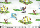 CURIOUS GEORGE : flying kites : Licensed 100% cotton fabric : By the 1/2 metre
