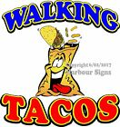 Walking Tacos DECAL (CHOOSE YOUR SIZE) Taco Food Truck Sign Concession Sticker