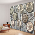 3D Blockout Fabric Window Curtain-One Dime Half Dollar 2Panel Set Drape 154