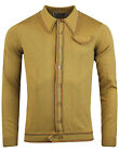 NEW MADCAP ENGLAND CRAWDADDY MICRO DASH LS KNIT POLO CARDIGAN: CARAMEL MC298