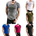 Summer Mens Casual Slim Fit Crew Neck Zipper Short Sleeve Shirts T Shirt Tee Top