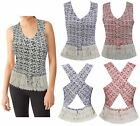 New Womens Frilled Hem Top Summer Ladies Blouse Lined Cami Cross Back