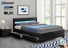 Black Double or King sized Music, Storage, Bluetooth, USB, LED, Leather Bed