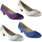 Womens Ladies Satin Wedding Bridesmaid Mid Low Kitten Heel Posh Court Shoes Size
